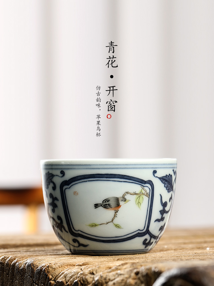 The Master cup single cup of jingdezhen blue and white porcelain tea sets hand - made teacup sample tea cup pure manual painting of flowers and kung fu tea urn