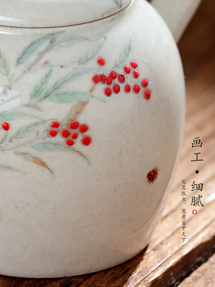 Hand - made teapot Chinese jingdezhen all Hand from the single pot of tea plant ash glaze ball hole ceramic pot of trumpet
