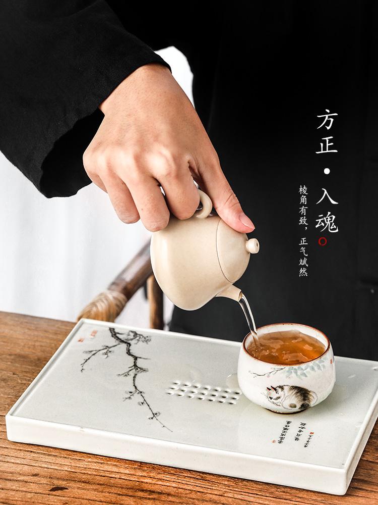 Hand draw pot bearing dry machine saving water jingdezhen checking retro tea ceramic name plum Japanese tea tray with parts