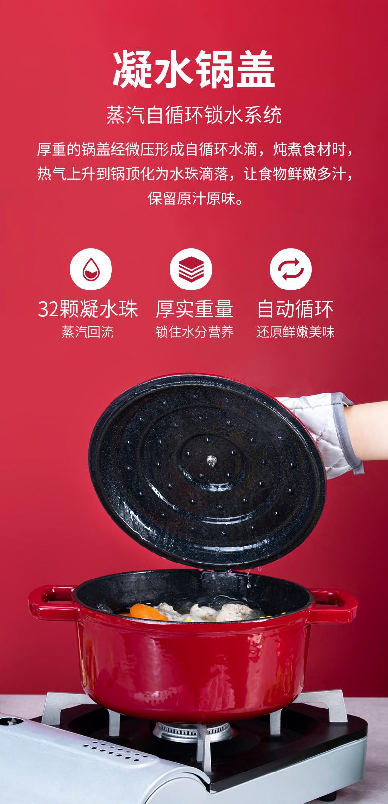 凌丰 珐琅铸铁锅 高颜值网红锅 高密闭性快熟锅 22cm/3.6L 券后149元包邮 买手党-买手聚集的地方