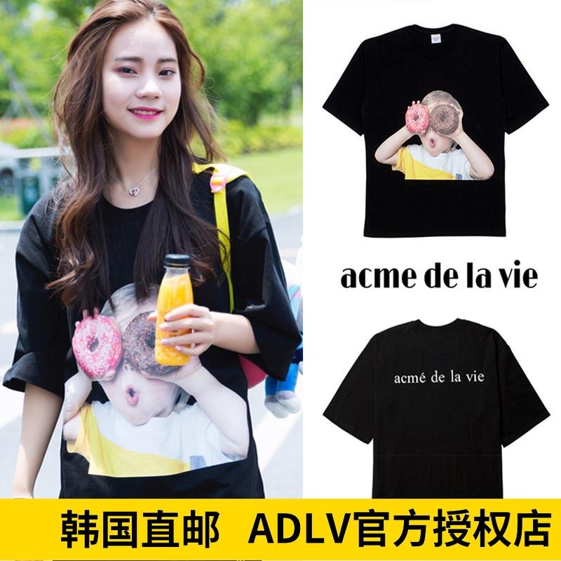 韩国代购潮牌acme de la vie ADLV短袖t恤男女孩宽松甜甜圈情侣款