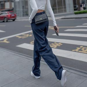 阔腿裤女高腰垂感春秋季新款2021年条纹宽松显瘦休闲拖地西装裤