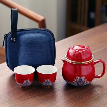 Забавные кружки,  Керамика украшение счастливая кошка состояние кот милый офис комната рабочий стол один чайник две чашки путешествие портативный открытый подарок, цена 1340 руб