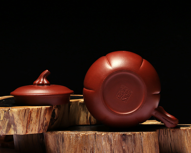 Pumpkin yixing purple sand cup suit undressed ore dahongpao all hand take cover cup of creative move tea cup