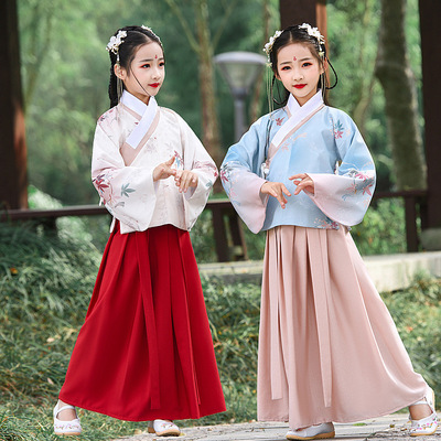 Childrens Chinese Hanfu girls Chinese style Ming dynasty printed shirt and skirt