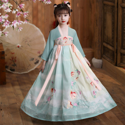 Childrens Chinese Hanfu, girls chest length Ru skirt, Chinese style Tang style, little Koi Chaoxian dress, ancient spring dress