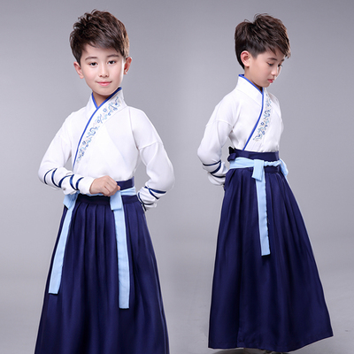 Childrens ancient costume Chinese Hanfu traditional Chinese culture Chinese style primary school boys and girls performance costume three character Sutra Tang poetry recitation schoolboy