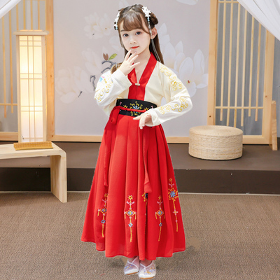 Childrens Chinese Hanfu chinese style super fairy half arm side-by-side ancient style suit skirt girl fairy skirt elegant ancient dress Ru skirt