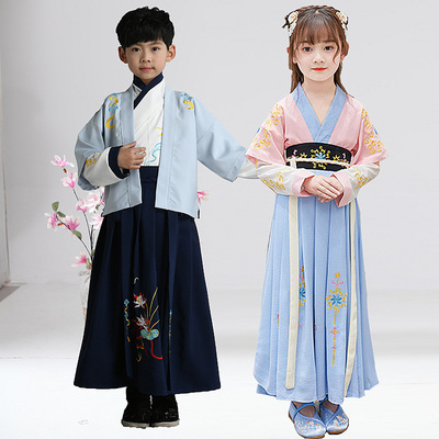 Childrens Chinese Hanfu ancient costume super fairy girl childrens Ru skirt Chinese style Tang suit boys and girls long sleeve dress ancient spring dress