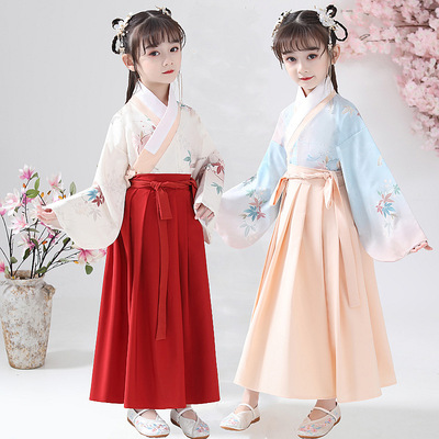 Girls Chinese Hanfu ancient costume super immortal childrens Ru skirt baby Chinese style little girls ancient Tang dress spring dress
