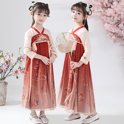 Childrens Chinese Hanfu girls fish pond chest length Ru skirt super FAIRY DRESS Chinese style ancient dress elegant spring dress