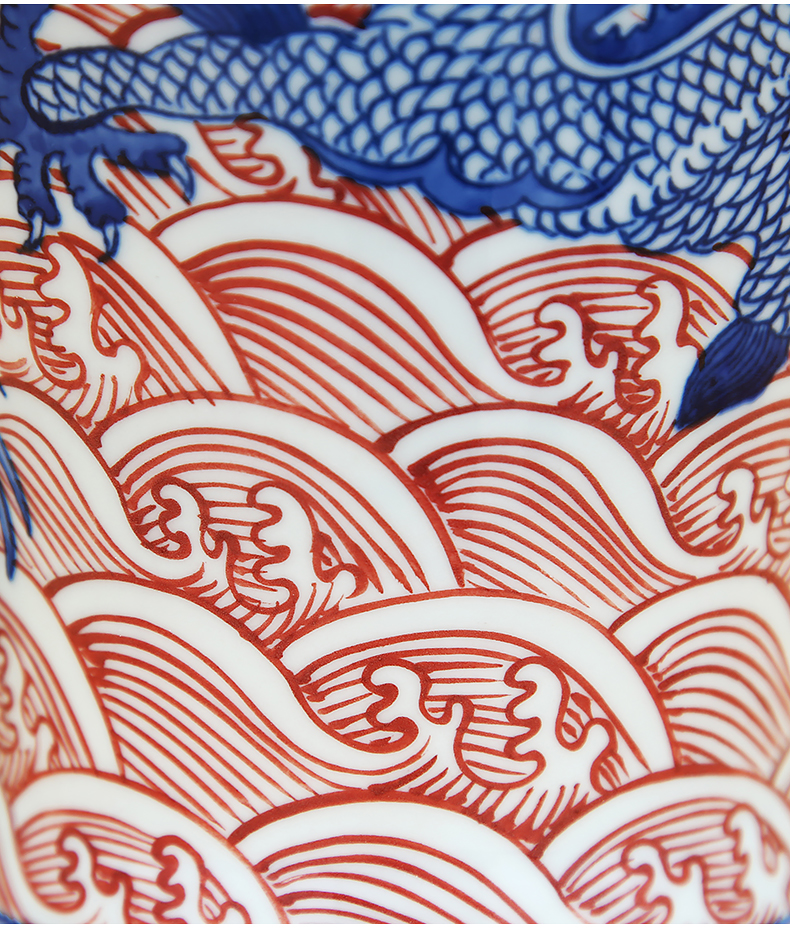 To ceramics hand - made of blue and red sea dragon bottle