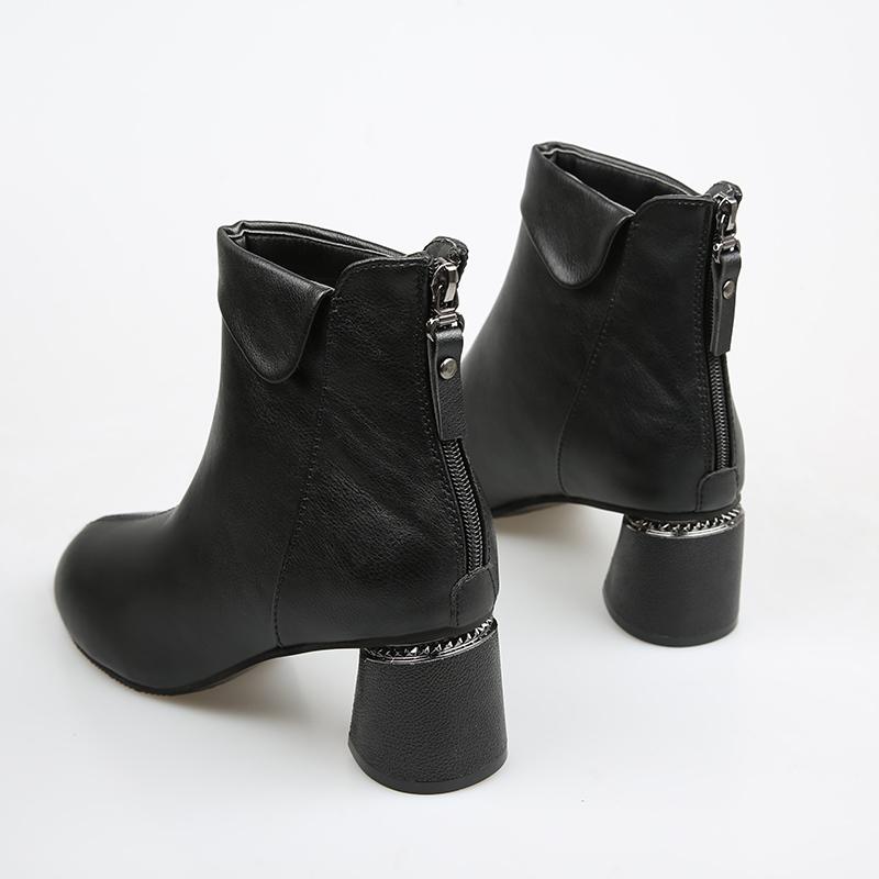短靴女春秋单靴2019秋款冬季高跟百搭软皮中跟马丁靴女粗跟瘦瘦靴