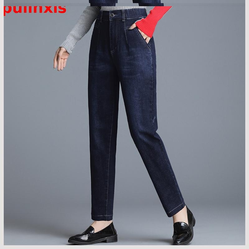 秋冬季牛仔裤30到35中年妇女装长裤子40多45阿姨50岁妈妈60穿女裤