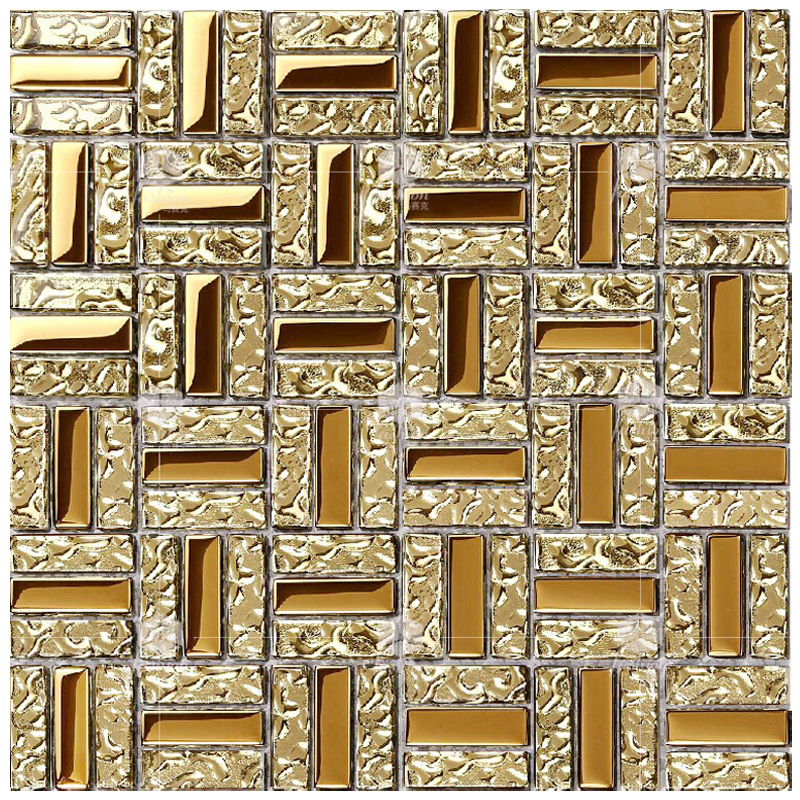 T Crystal 131 Crystal Glass Mosaic Metal Electroplating Puzzle Gold Mirror Wall Tile Spot