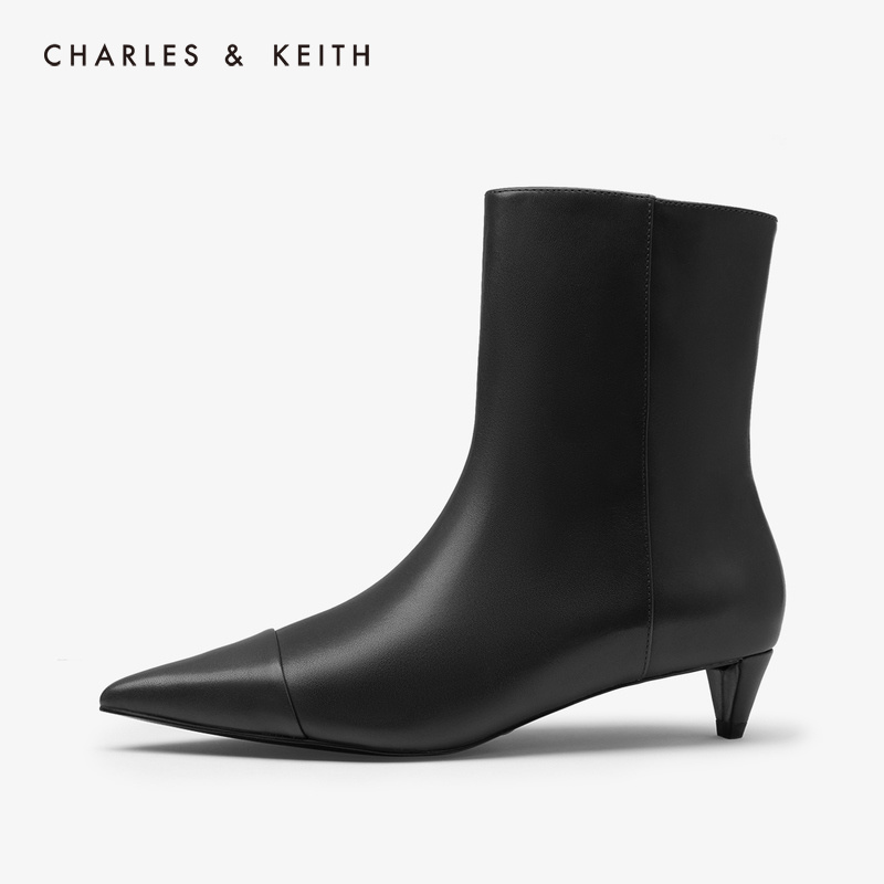 CHARLES & KEITH2019 autumn new SL1-90580011 Pure Color simple pointed mid-heel boots women