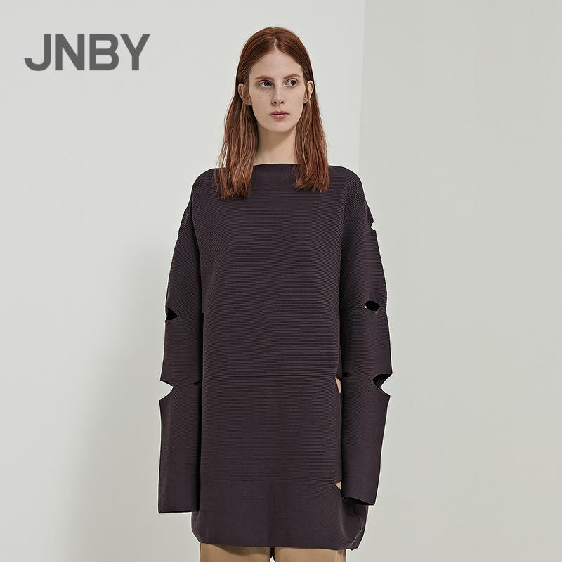 JNBY-江南布衣2018夏新品前衛鏤空破洞寬松毛針織衫女5H282025