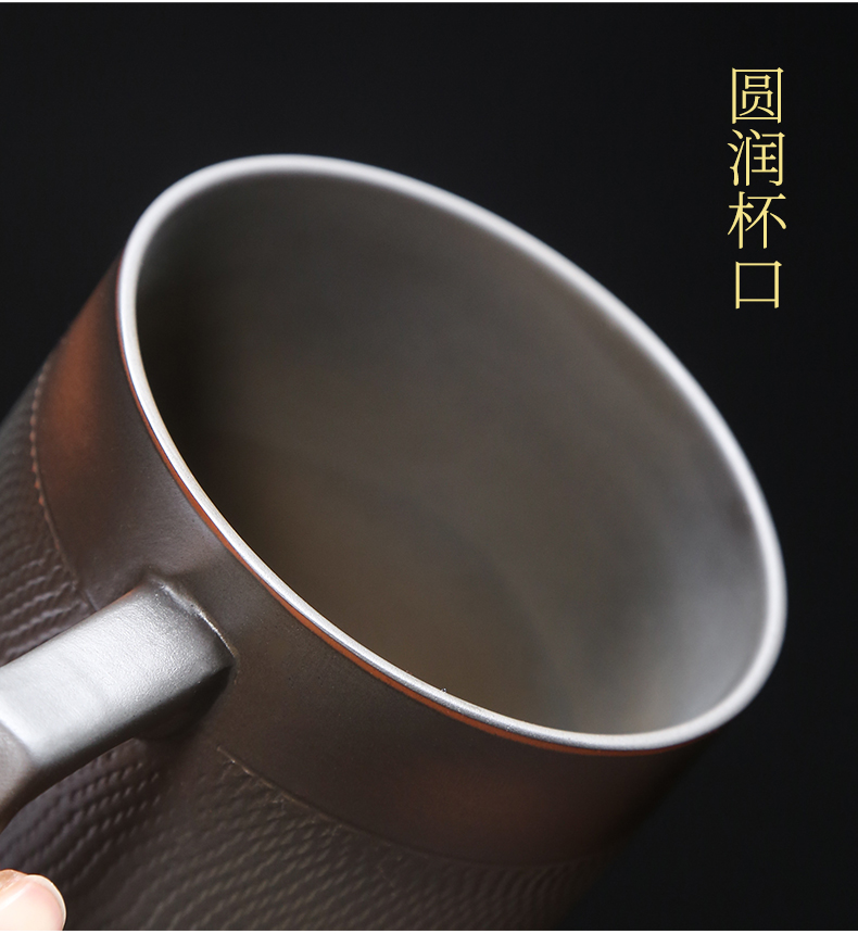 Build water purple pottery cup with cover large capacity pure manual separation filter tea mugs office violet arenaceous glass