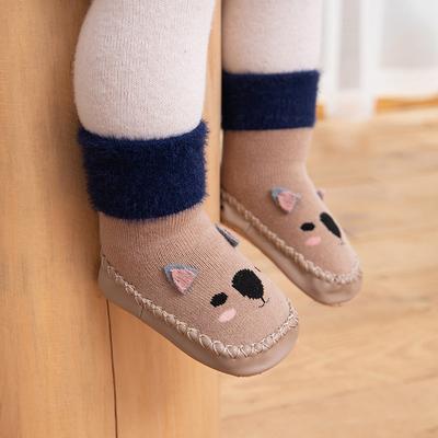 婴儿袜子秋冬季宝宝鞋袜软底学步外穿加厚加绒室内走路防滑地板袜
