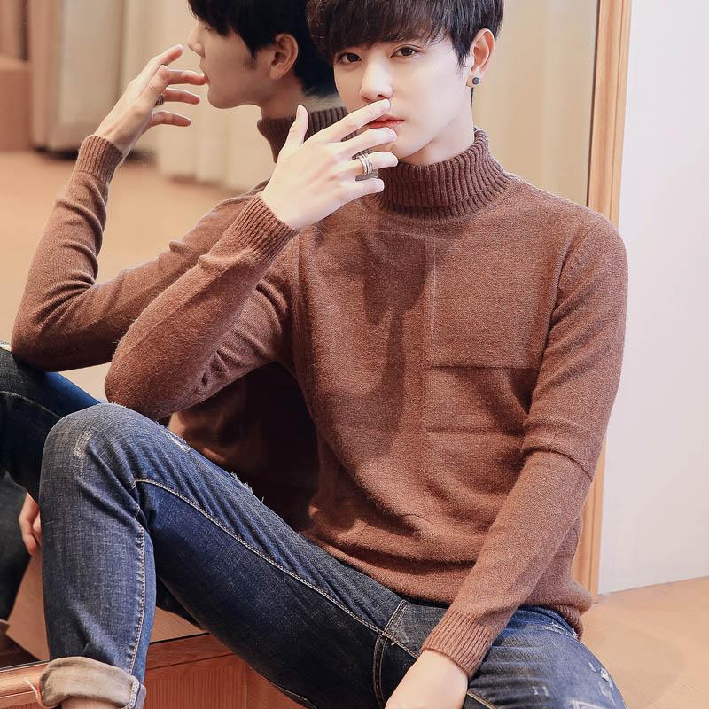 冬季男士高领毛衣针织衫翻领加厚套头打底衫