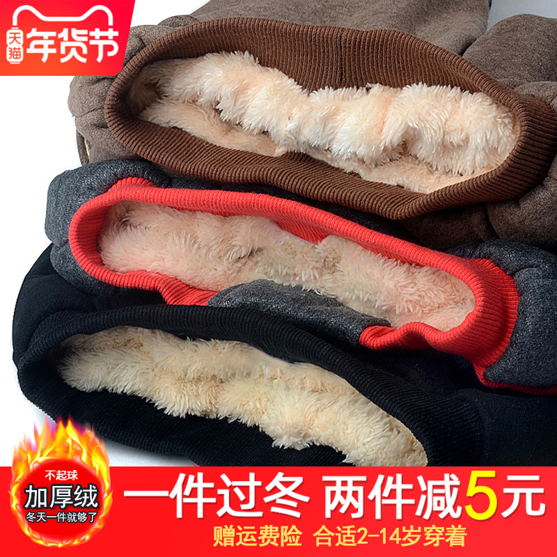 Winter boys pants plus cashmere thick warm cotton pants in children's children wear outside the new wave boy 2019