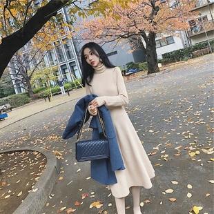 瑶艳【高领加厚】中长款针织毛衣裙