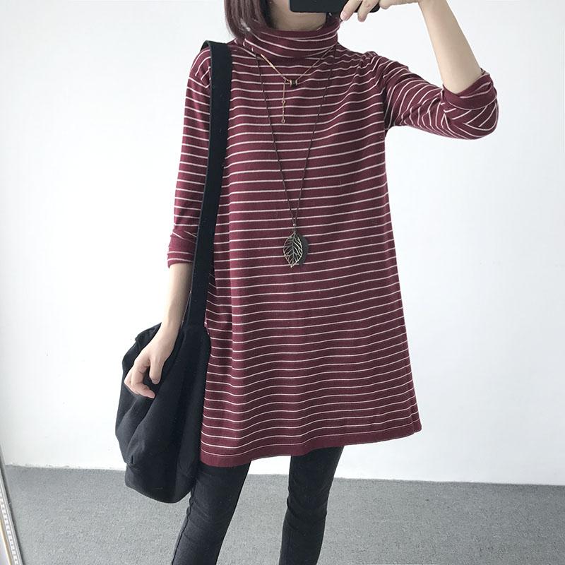 秋季新款大码宽松中长款长袖针织衫高领伞状条纹毛衣线衣女针织裙