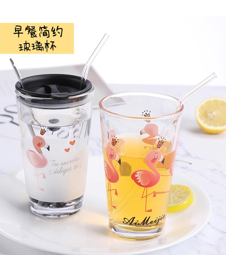 韩国清新可爱女学生玻璃杯刻度水杯家用耐热早餐牛奶带盖吸管杯子商品详情图