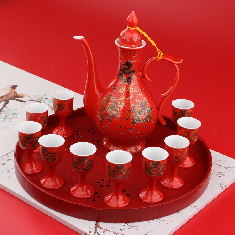 13 MODELS, RED GOLD DRAGON 1 POT 10 CUPS + ROUND WOODEN TRAY