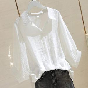 帕米洛2020夏新款大码女装宽松显瘦衬衫简约套头V领蝙蝠袖衬衣