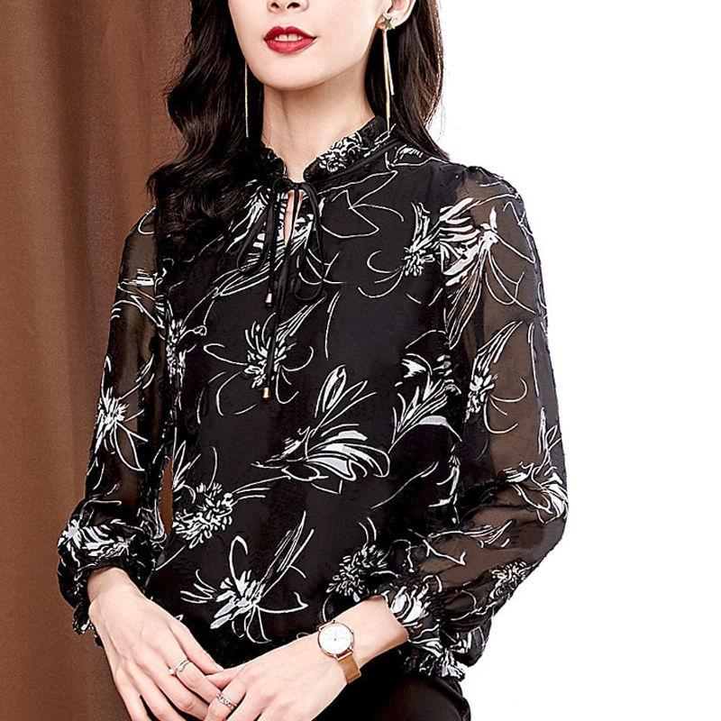 2021夏装新款时尚女装碎花雪纺衬衫长袖洋气质上衣蕾丝打底小衫潮