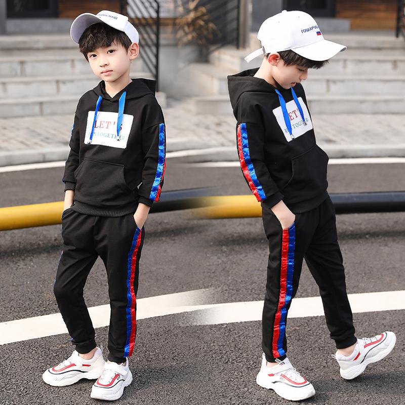 男童套装秋季2019新款洋气中大童装运动连帽卫衣儿童两件套春秋款