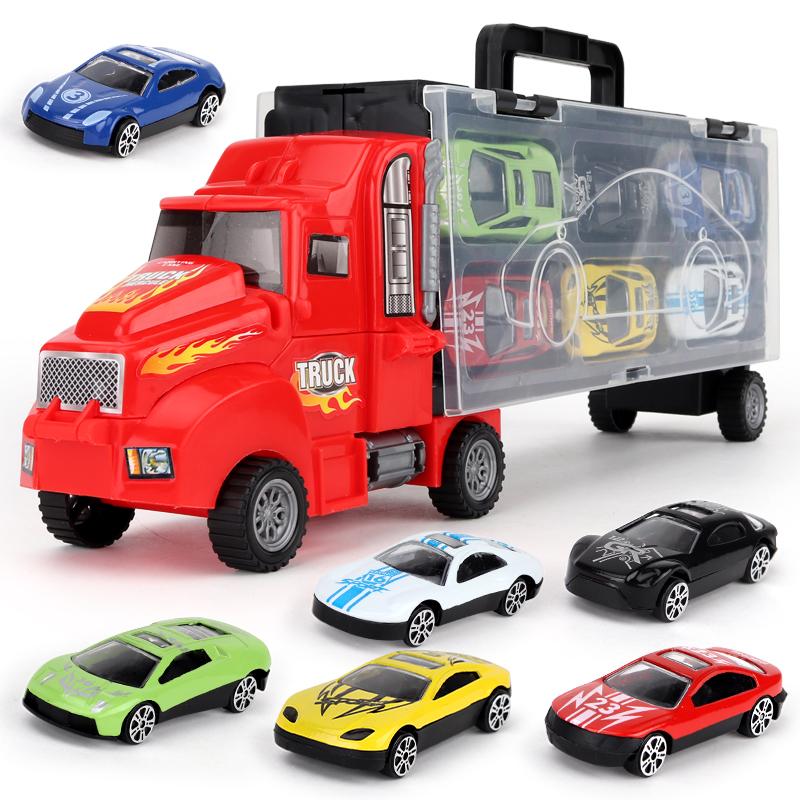 儿童合金货柜车弹射汽车模型套装玩具