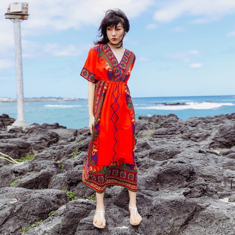 云南丽江民族风女装连衣裙泰国旅游海边度假沙滩裙大码显瘦长裙子_天猫超市优惠券