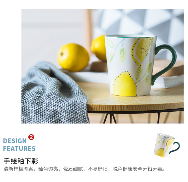 American hand - made of oat breakfast cup under the large capacity against the hot ceramic glaze coffee cup lemon keller cup