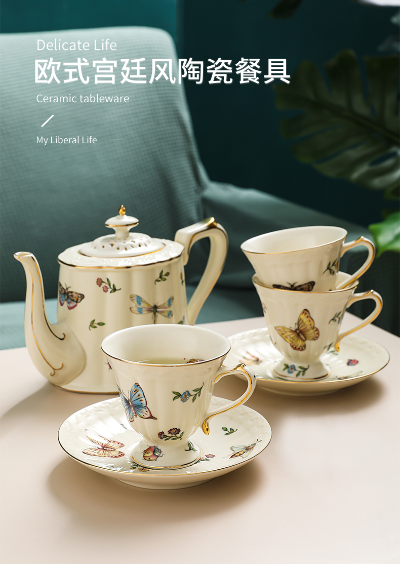 Ins butterfly coffee cups and saucers European household small exquisite key-2 luxury glass ceramic English afternoon tea tea set