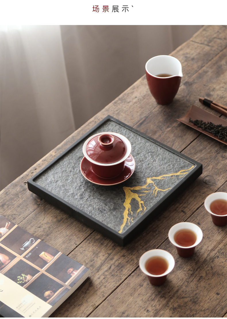 Natural stones sharply by mud stone tea tray was kung fu tea set dry tea sets the whole piece of Japanese household drainage saucer dish