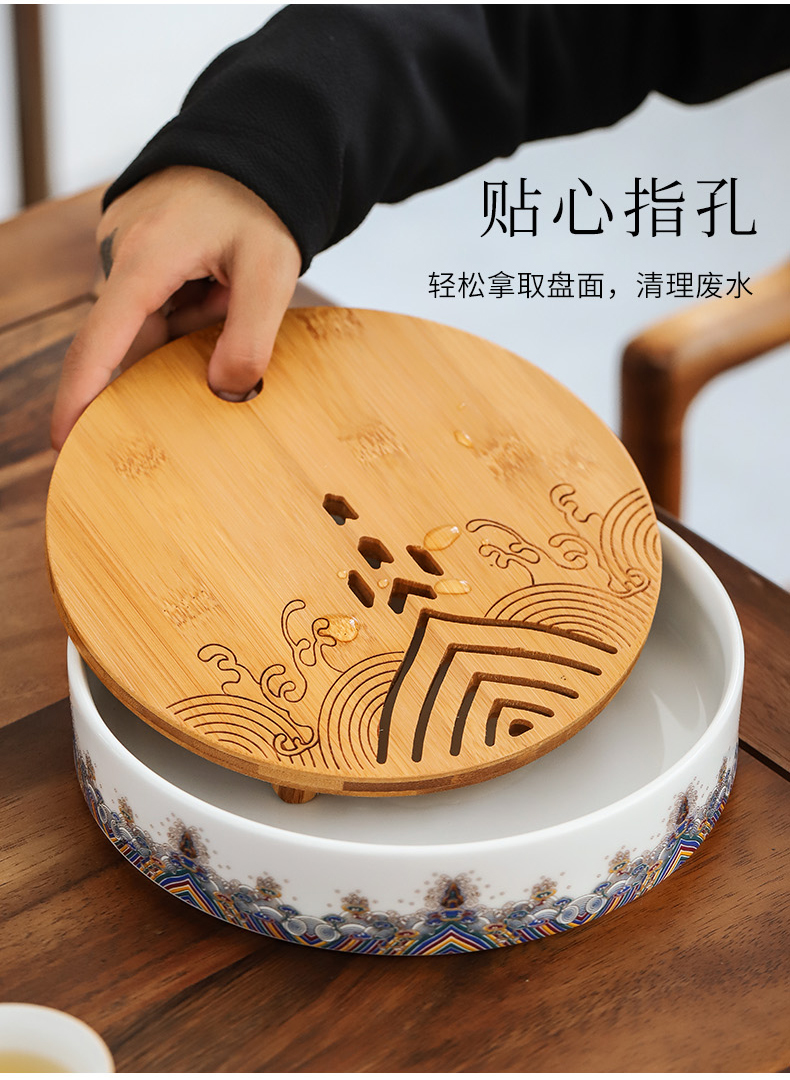 By lateral mud colored enamel teapot kung fu tea set household contracted ceramic water type dry tea set tea sea