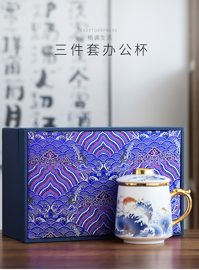 By mud China office cup of dehua white porcelain suet jade wind tide mark cup countries colored enamel paint make tea cup By hand