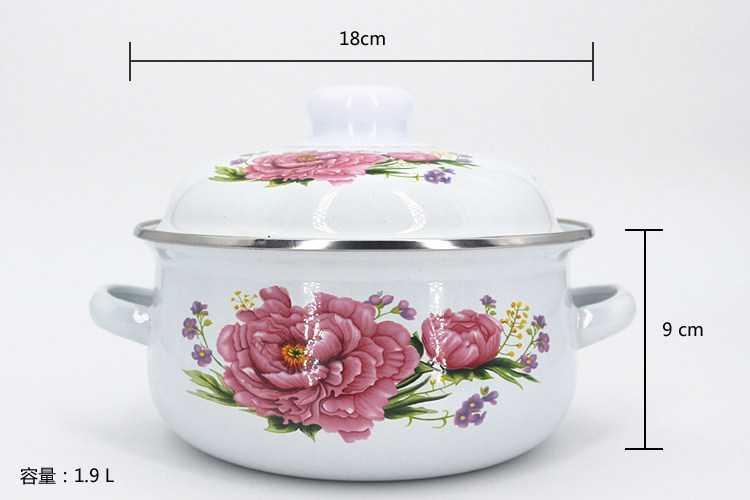 Enamel bowls with cover with the rural wind upset with Enamel pot three - piece Enamel rainbow such as bowl soup pot mercifully milk pan is small