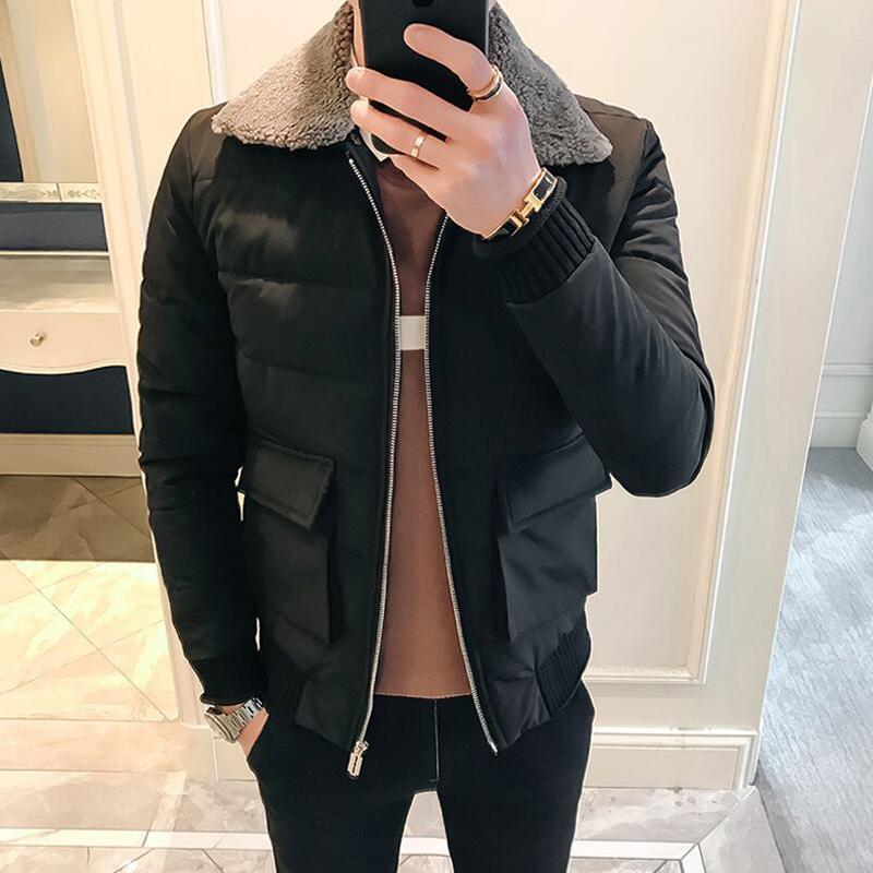 冬季外套男加厚潮流韩版袄子修身翻领短款羽绒棉服羊羔毛领棉衣男