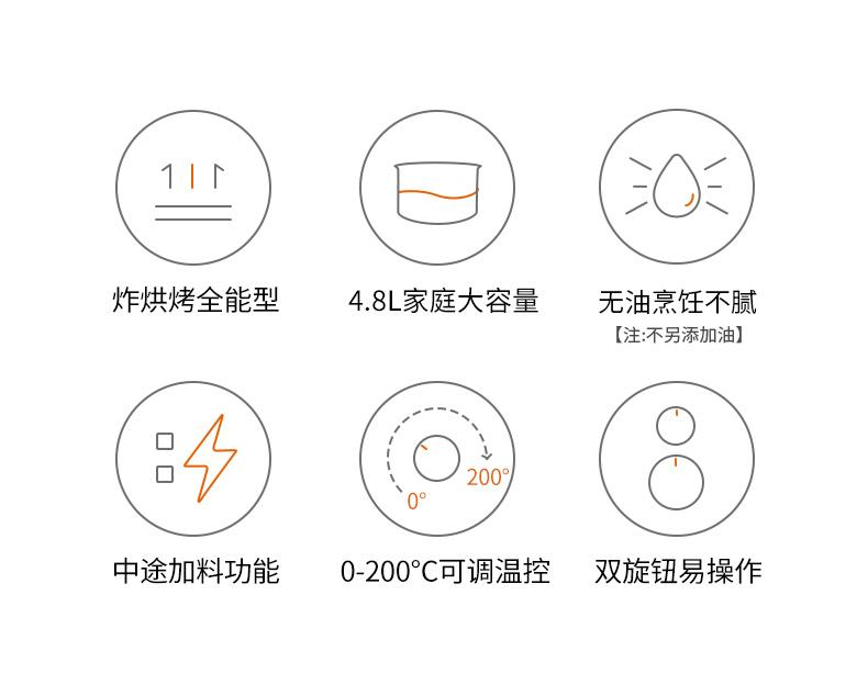 九阳 全自动多功能无油空气炸锅 4.8L大容量 图2