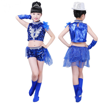 Girls Jazz Dance Costumes boys'modern dance costume, girls sequined feather Dance Costume