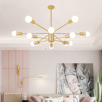 Post-modern Nordic lighting, creative personality, wrought iron chandelier, simple magic bean molecular lamp, living room lamp