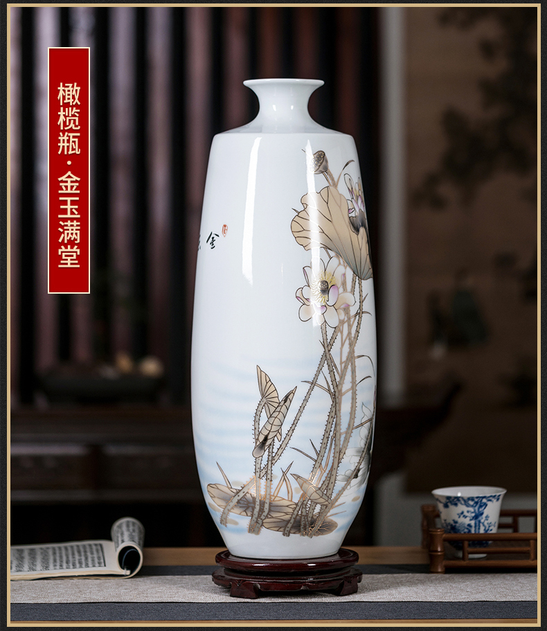 Jingdezhen ceramics vase large famille rose blooming flowers f tube of the sitting room of Chinese style household act the role ofing is tasted furnishing articles arranging flowers