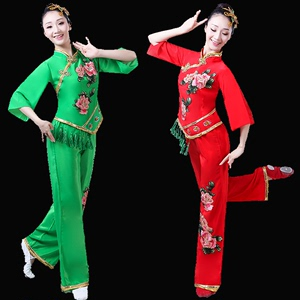 Chinese folk dance dress for women Yangko costume, female middle-aged and elderly people Square Dance Costume, adult fan waist drum performance costume, red and green