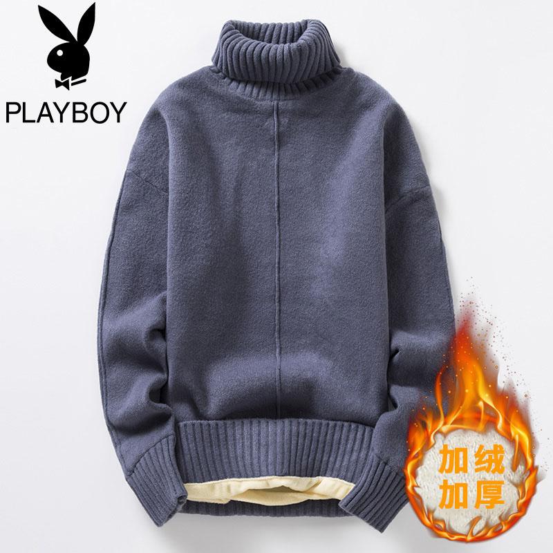 Playboy áo len cao cổ nam thương hiệu thủy triều cộng với nhung dày áo len xu hướng màu rắn ấm áo len đáy ấm - Áo len thể thao / dòng may