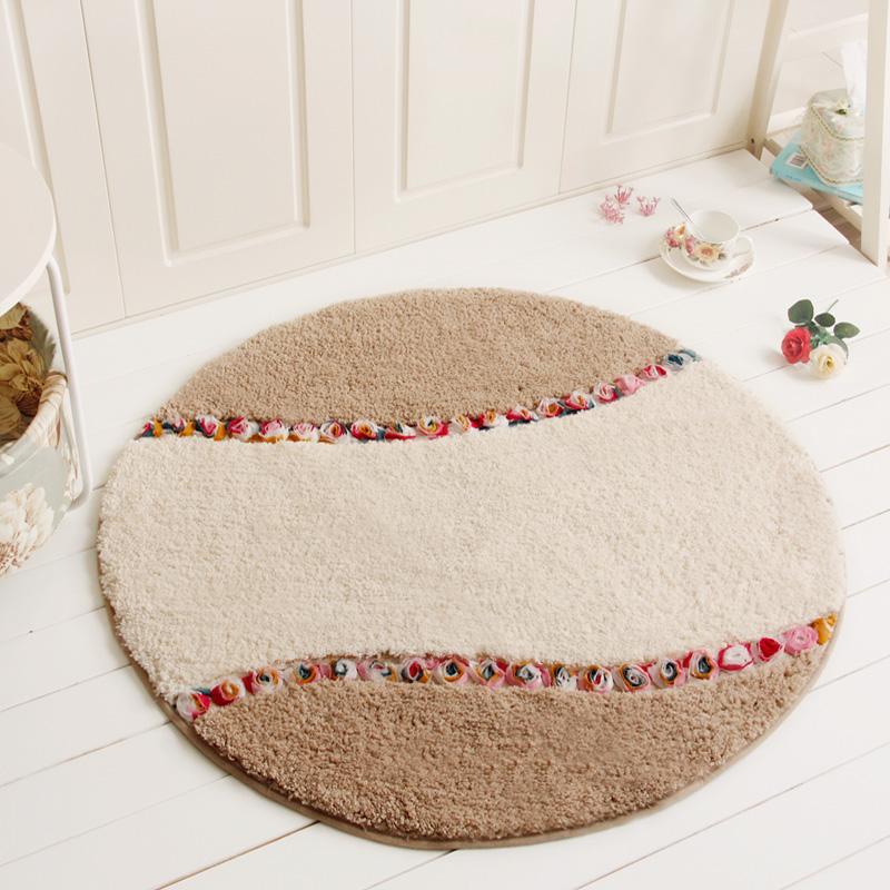 多美欧式圆形地垫田园客厅地毯卧室书房超柔脚垫电脑椅防滑垫子