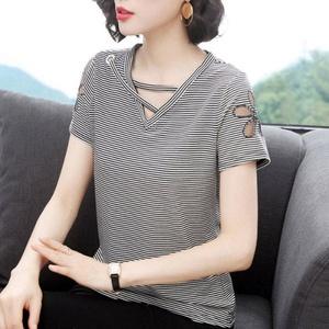 89韩版大码女装宽松T恤女夏短袖条纹拼接刺绣女士妈妈装上衣