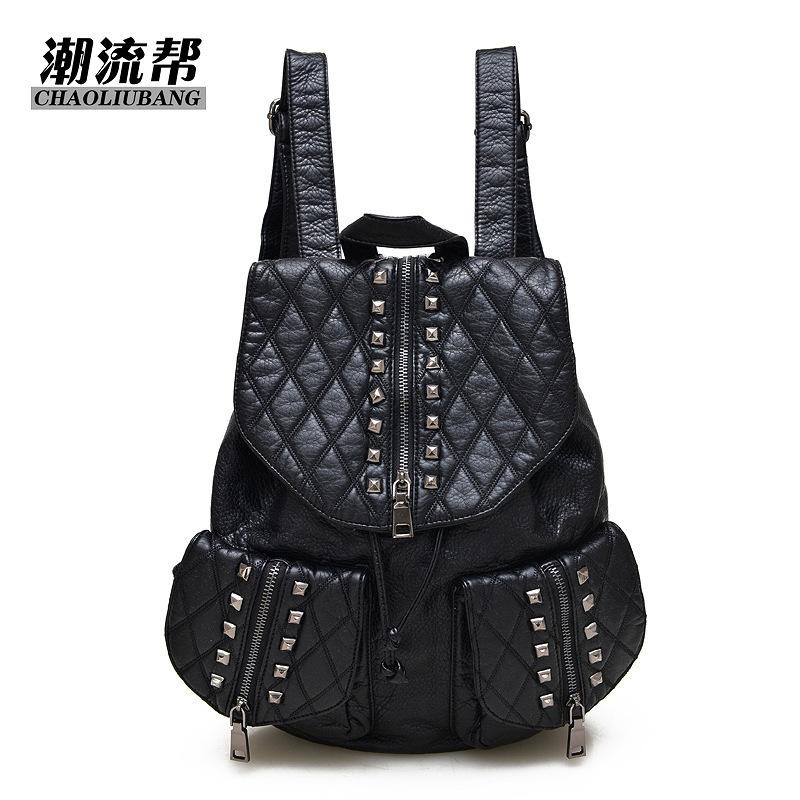 2019女式双肩包 韩版创意时尚多功能包双肩背包潮流帮编织PU纯色